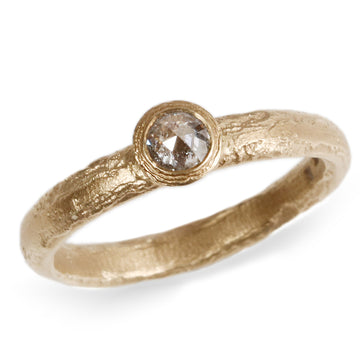 9ct Fairtrade Yellow Gold Ring with Salt & Pepper Rose Cut Diamond