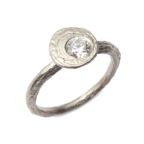 Textured 18ct White Gold Ring with 0.25ct Brilliant Cut Offset Diamond