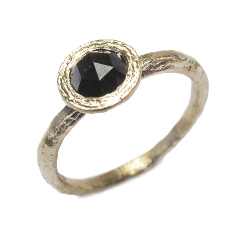 Textured 9ct Yellow Gold Ring with Black Rose Cut Diamond