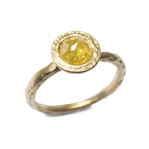 Textured 9ct Yellow Gold Ring with 0.87ct Rose Cut Diamond