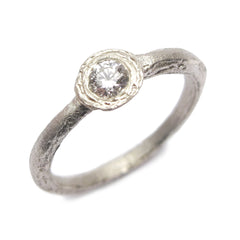 Textured Platinum Ring with 0.17ct Brilliant Cut Diamond