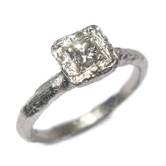 Textured 18ct White Gold Ring with 0.25ct Princess Cut Diamond
