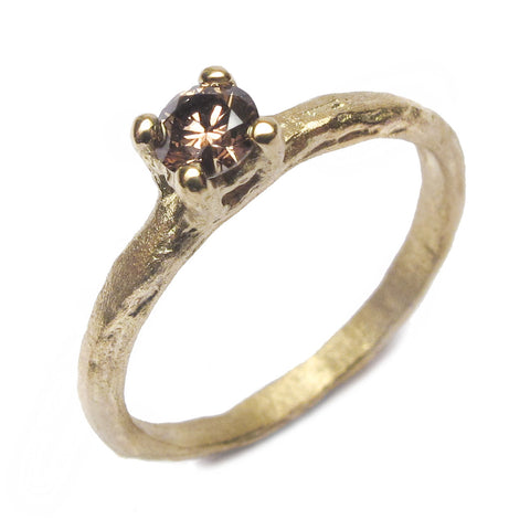 Etched 18ct Yellow Gold Claw Set Ring with 0.30ct Brilliant Cut Brown Diamond