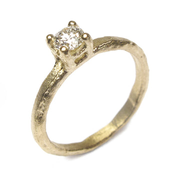18ct Yellow Gold Claw Set Ring with 0.30ct Brown Diamond