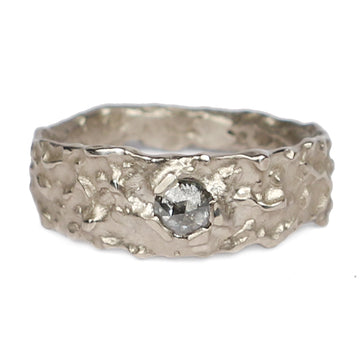 Diana Porter Contemporary Jewellery, modern textured tapered wedding engagement ring band with salt & pepper rose cut diamond