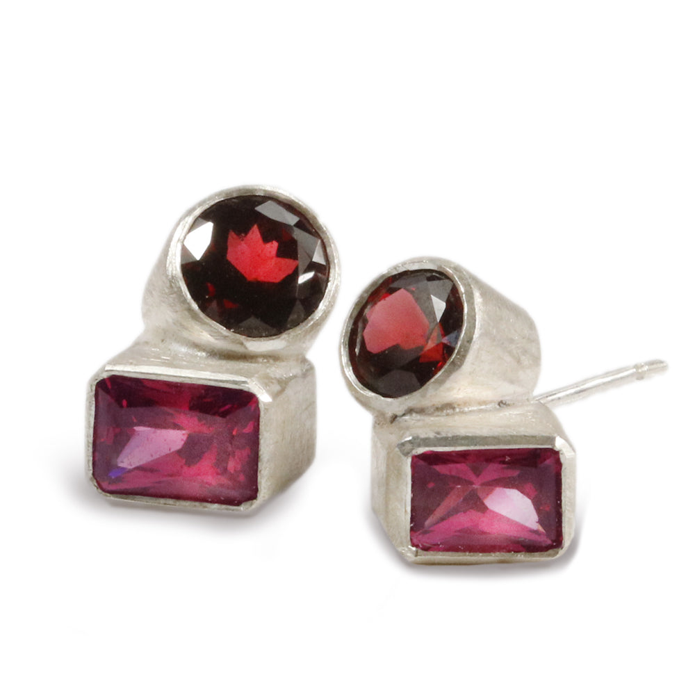 Chris Boland Garnet and Silver Earrings