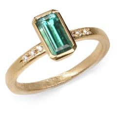 Fair Mind 18ct Yellow Gold 'One-Of-Kind' Ring with 1.08ct Seafoam Tourmaline and six Canada Mark Diamonds
