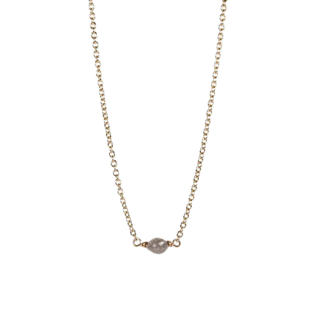 9ct Yellow Gold Necklace with Oval Grey Diamond Bead