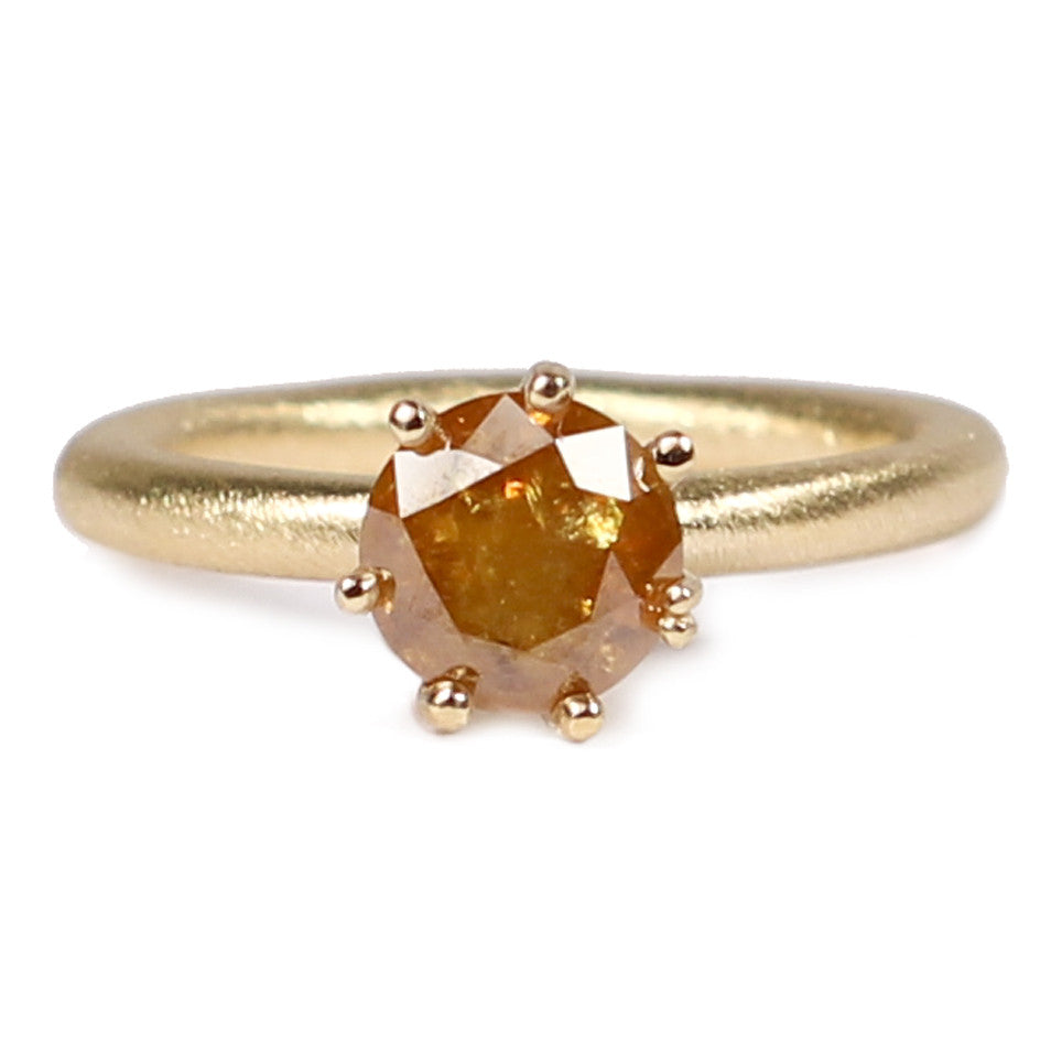 Diana Porter Contemporary Jewellery modern  cognac diamond and fairtrade yellow gold engagement ring, solitaire