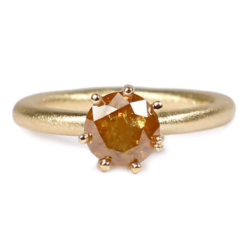 Cognac Diamond and 18ct Yellow Gold Ring