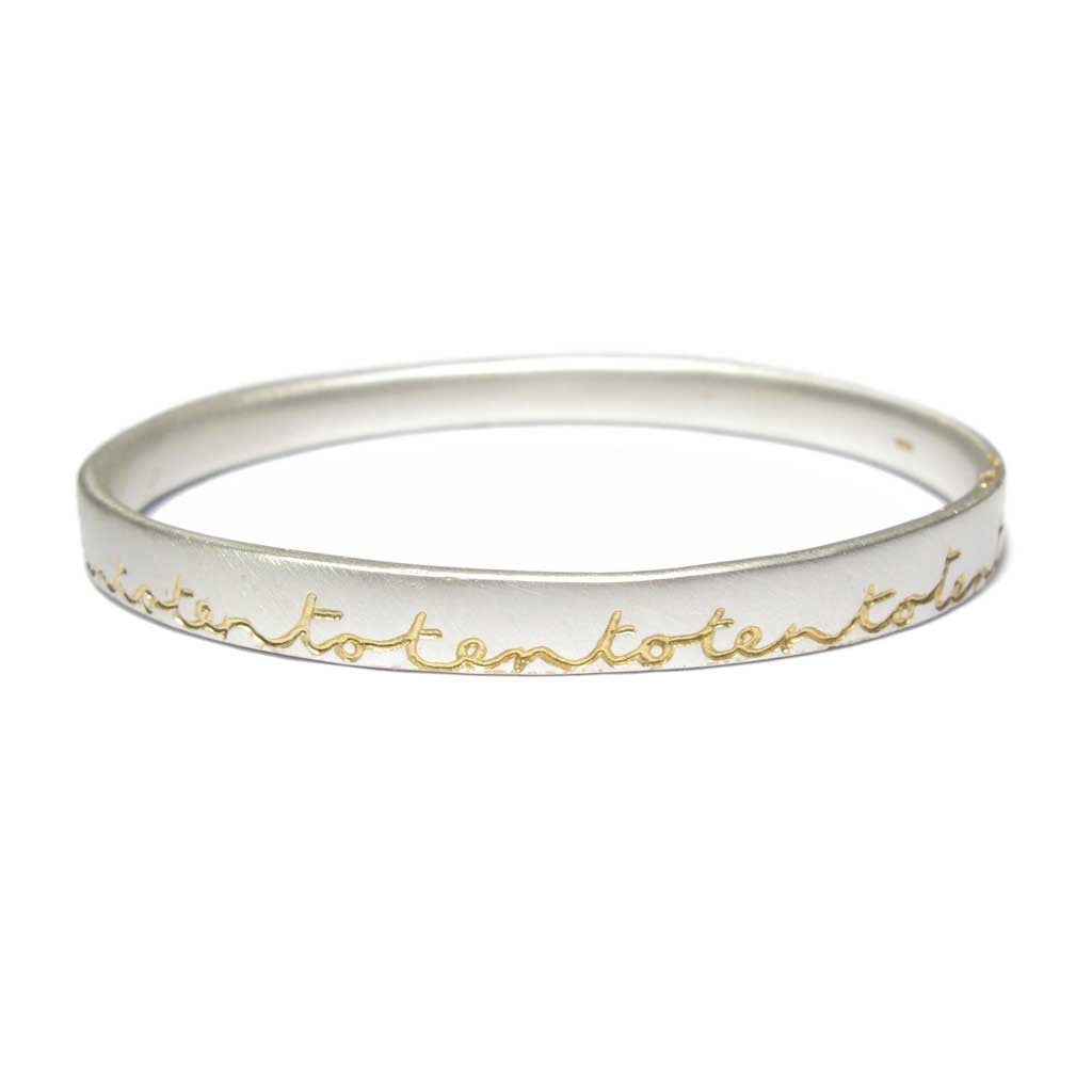 Diana Porter Jewellery bespoke commission etched silver gold bangle