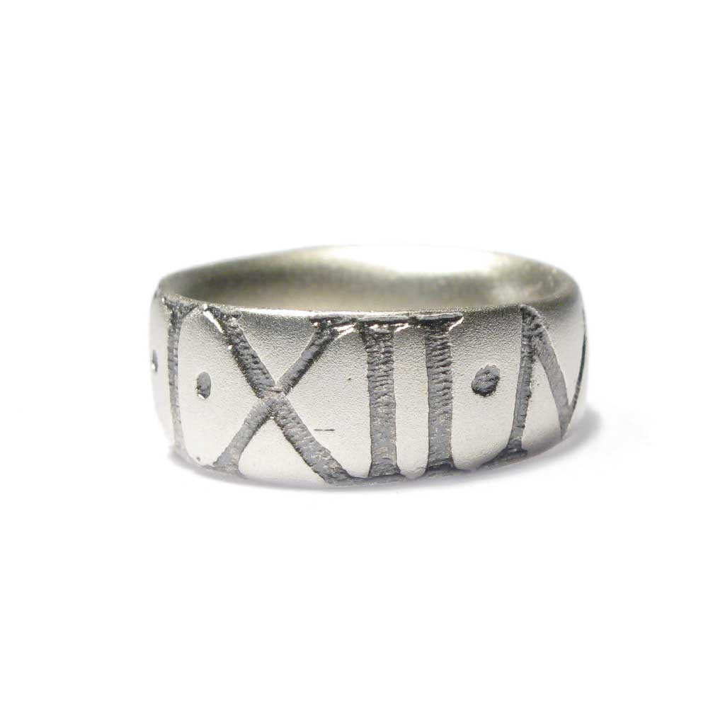 Diana Porter Jewellery bespoke commission etched roman numerals silver ring