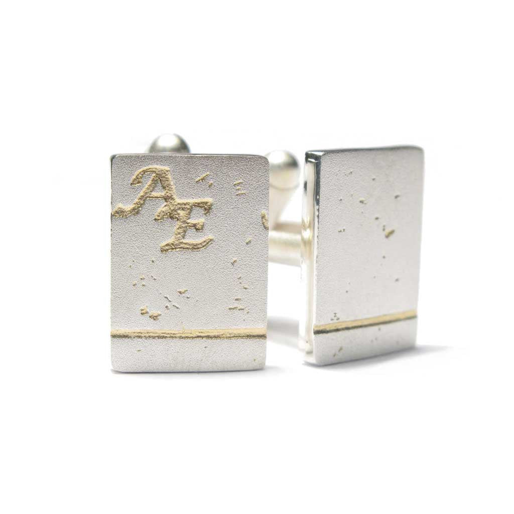 Diana Porter Jewellery bespoke commission etched silver gold cufflinks