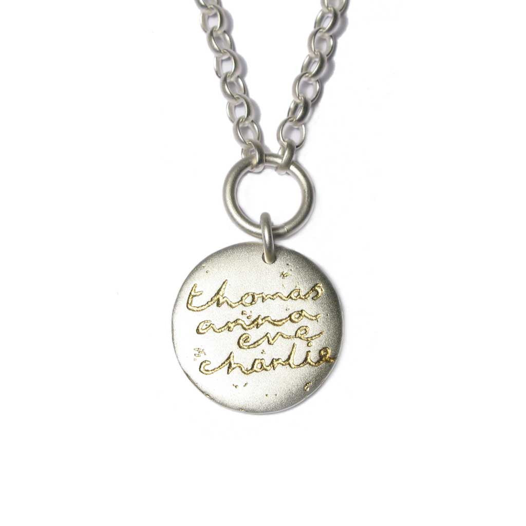 Diana Porter Jewellery bespoke commission etched silver gold pendant necklace