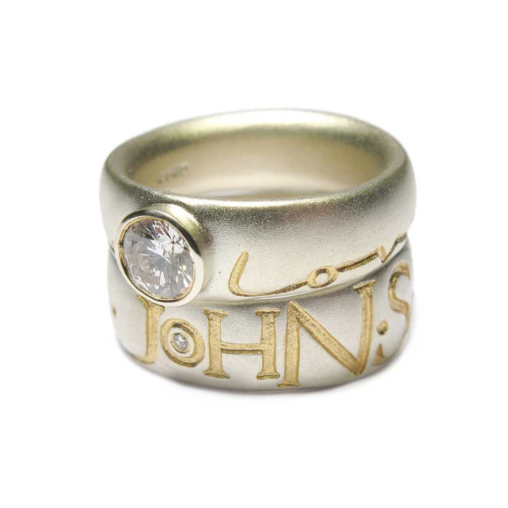 Diana Porter Jewellery bespoke commission diamond etched rings