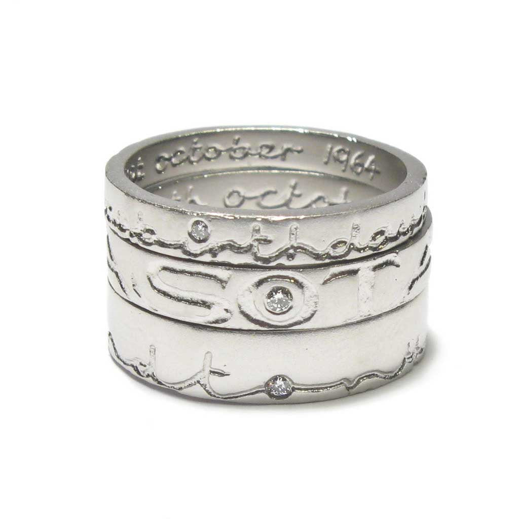 Diana Porter Jewellery bespoke commission etched platinum diamond rings