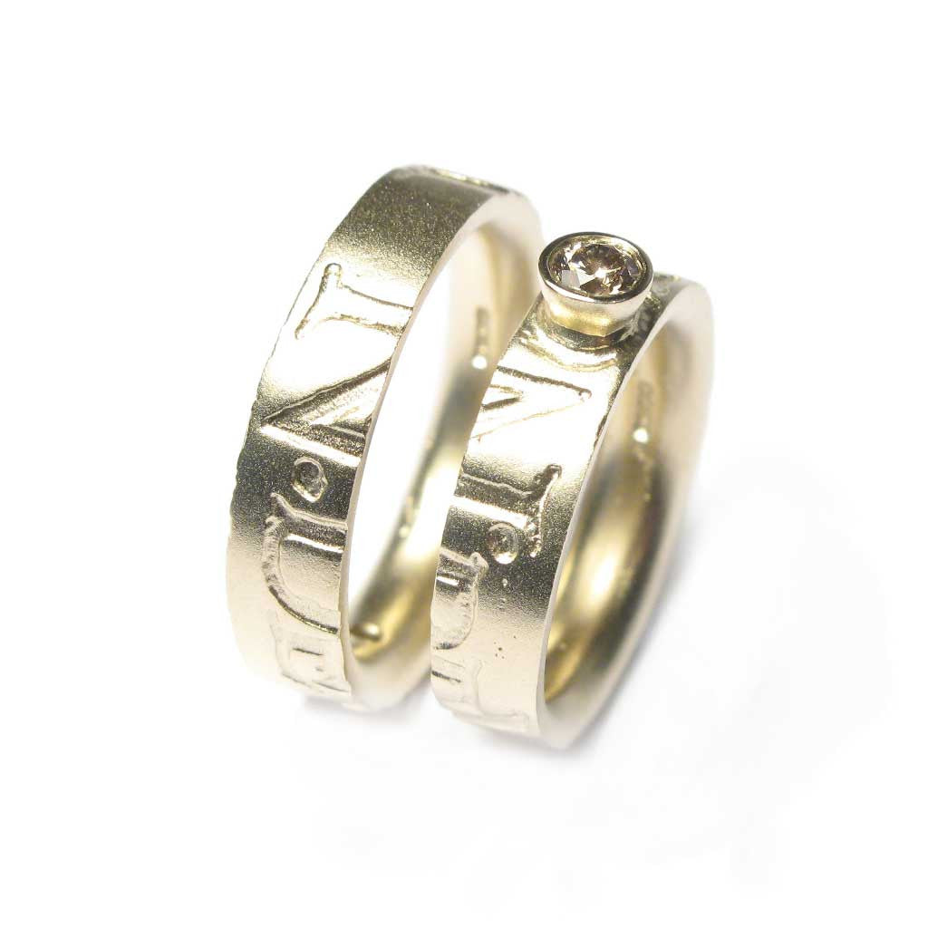 Diana Porter Jewellery bespoke commission diamond yellow gold partnership rings