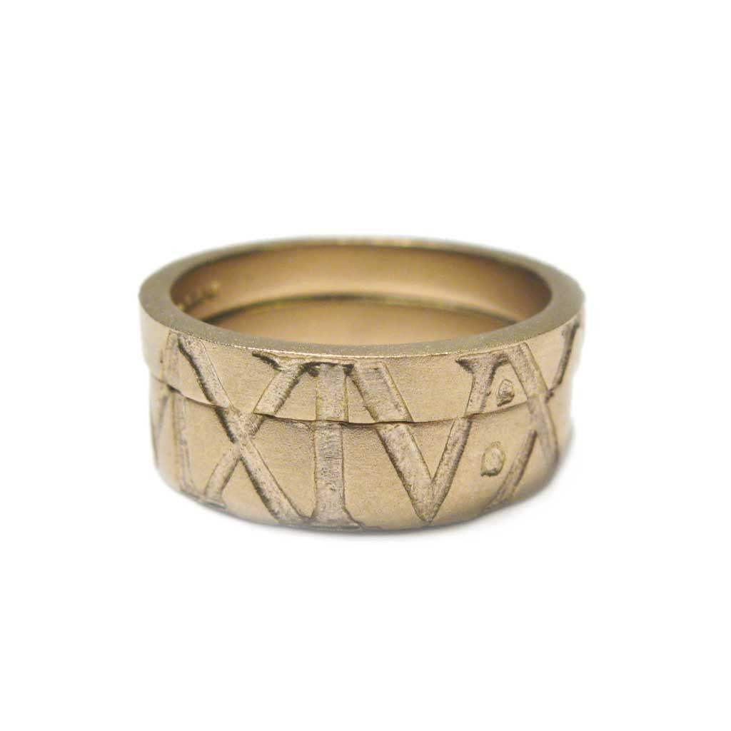 Diana Porter Jewellery bespoke commission etched roman numerals yellow gold partnership rings