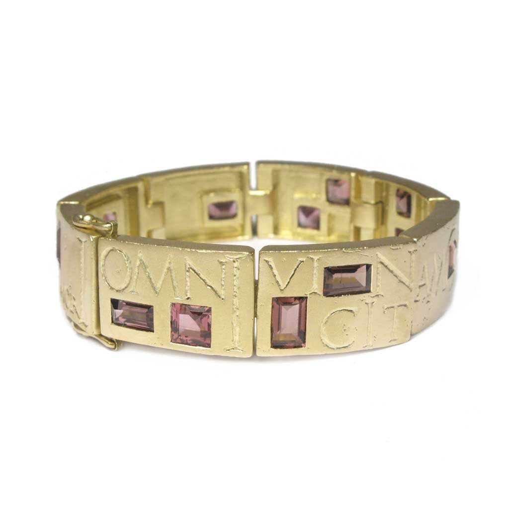 Diana Porter Jewellery bespoke commission etched yellow gold bracelet