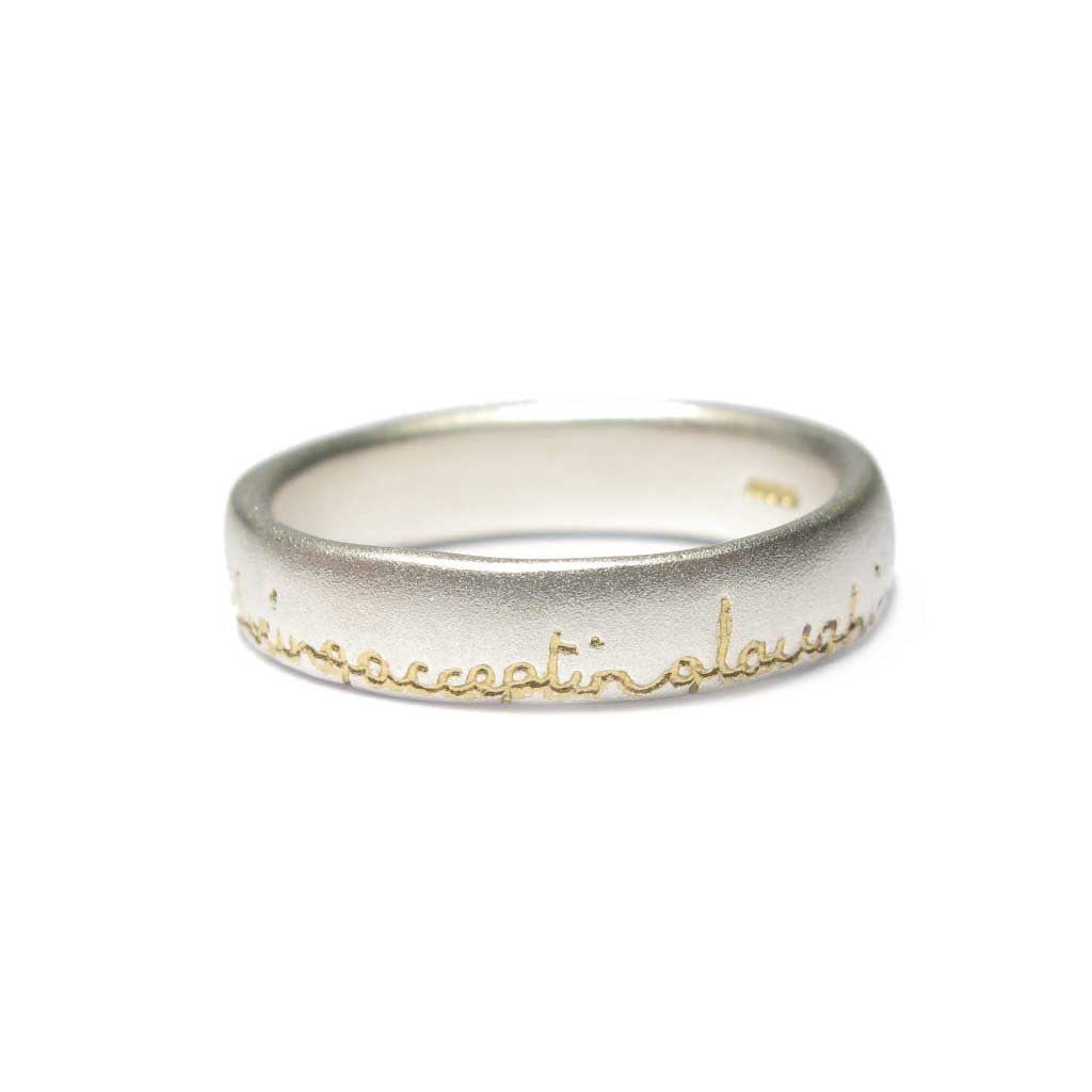 Diana Porter Jewellery bespoke commission etched silver gold ring