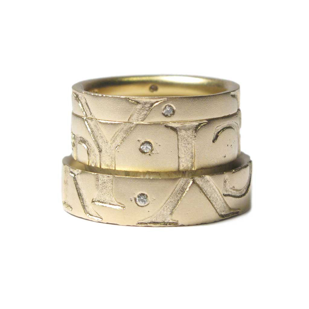 Diana Porter Jewellery bespoke commission etched yellow gold partnership rings