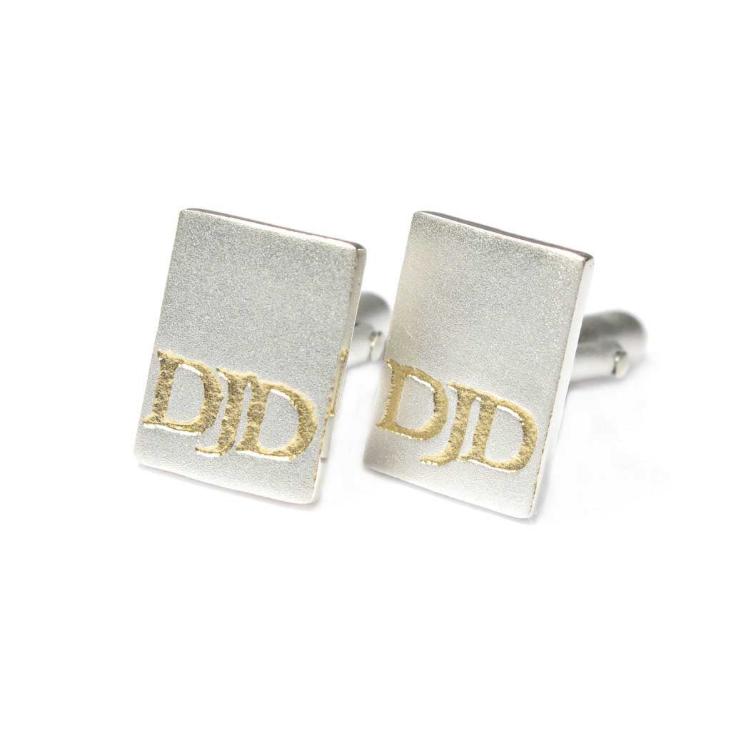 Diana Porter Jewellery bespoke commission silver gold etched cufflinks