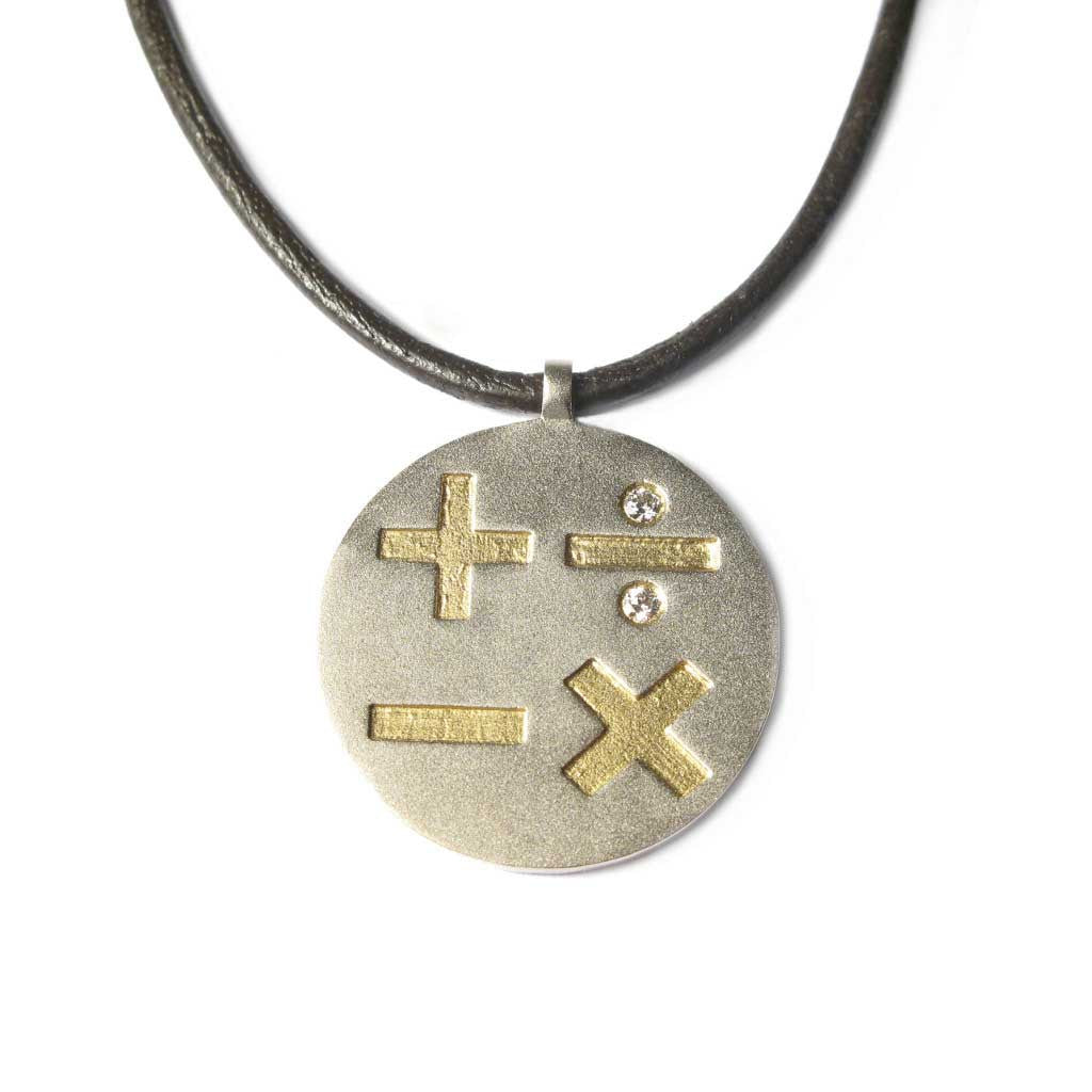 Diana Porter Jewellery bespoke commission white yellow gold etched pendant necklace