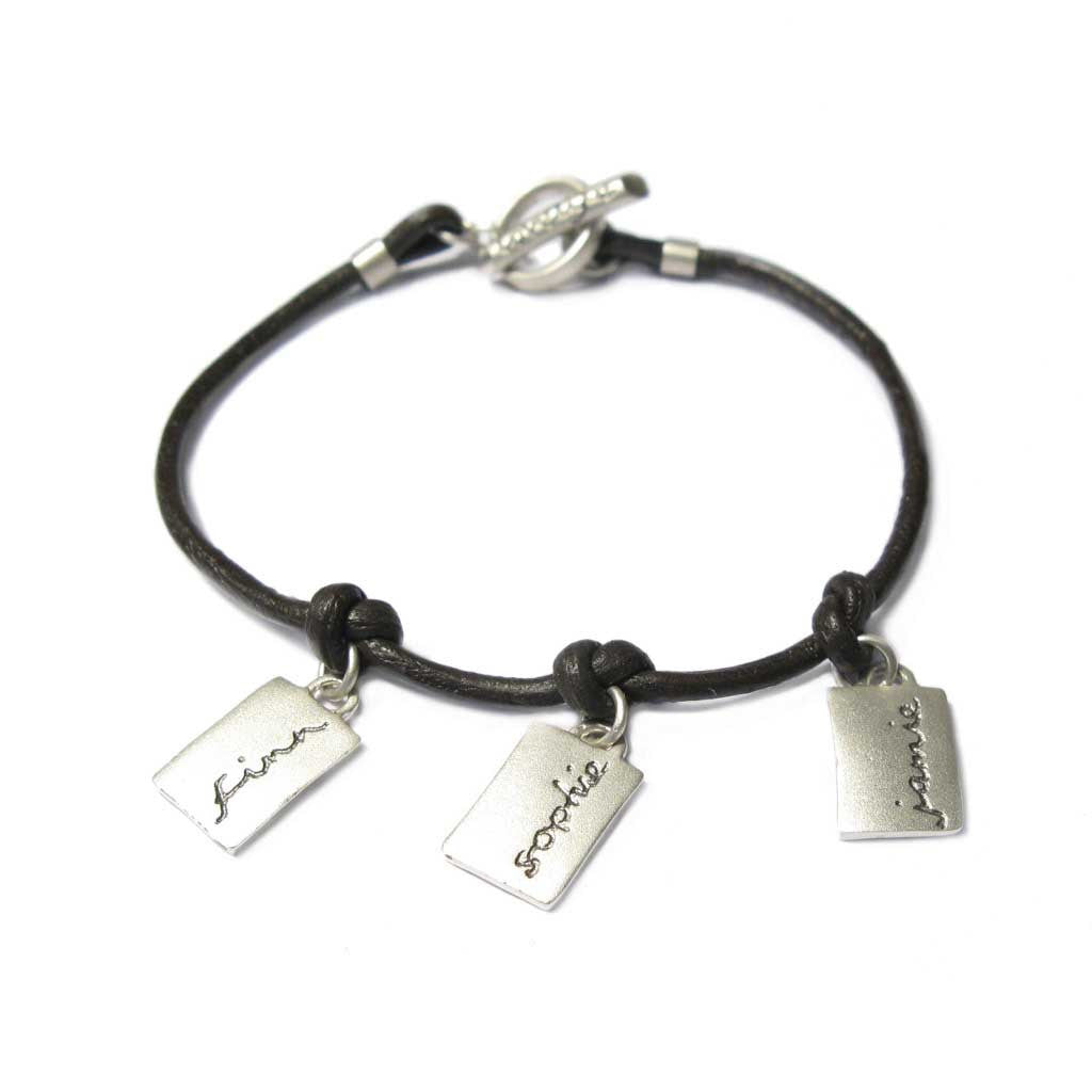 Diana Porter Jewellery bespoke commission etched silver and leather bracelet