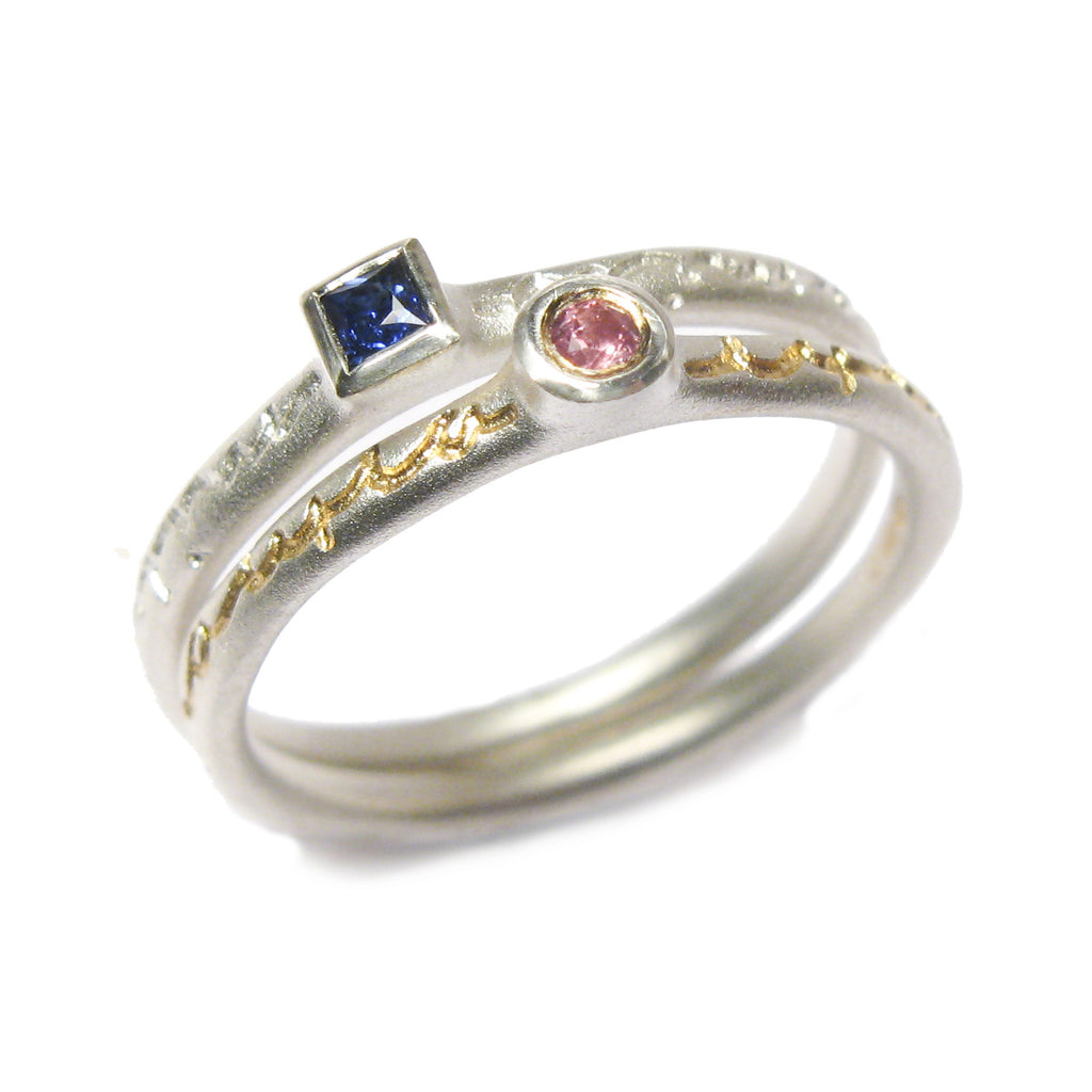 silver personalised bespoke commissioned, etched stacking rings set with sapphire and pink tourmaline, with gold etch