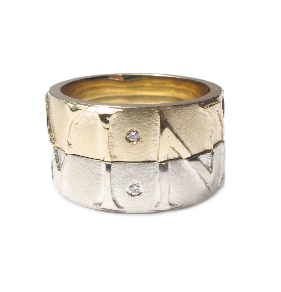 Diana Porter contemporary Jewellery Bespoke partnership rings with commissioned relief etch and diamonds in 9ct white and yellow gold
