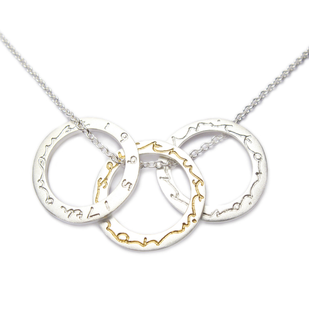 Diana Porter Contemporary jewellery Bespoke necklace with commissioned etching on silver rings