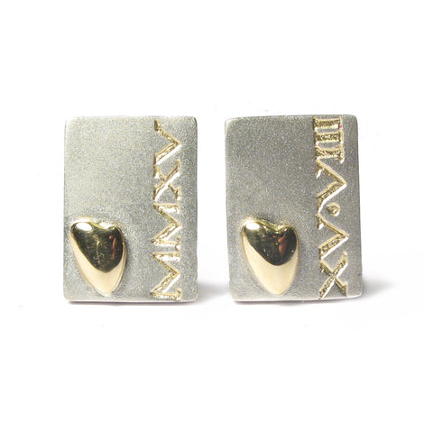 Bespoke - Etched Silver Cufflinks with Personalised Roman Numerals and Gold Hearts