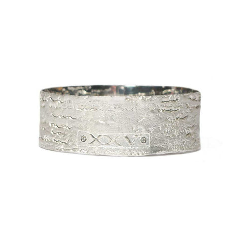 Bespoke - Silver Bangle Etched with  Personalised Words and Diamond