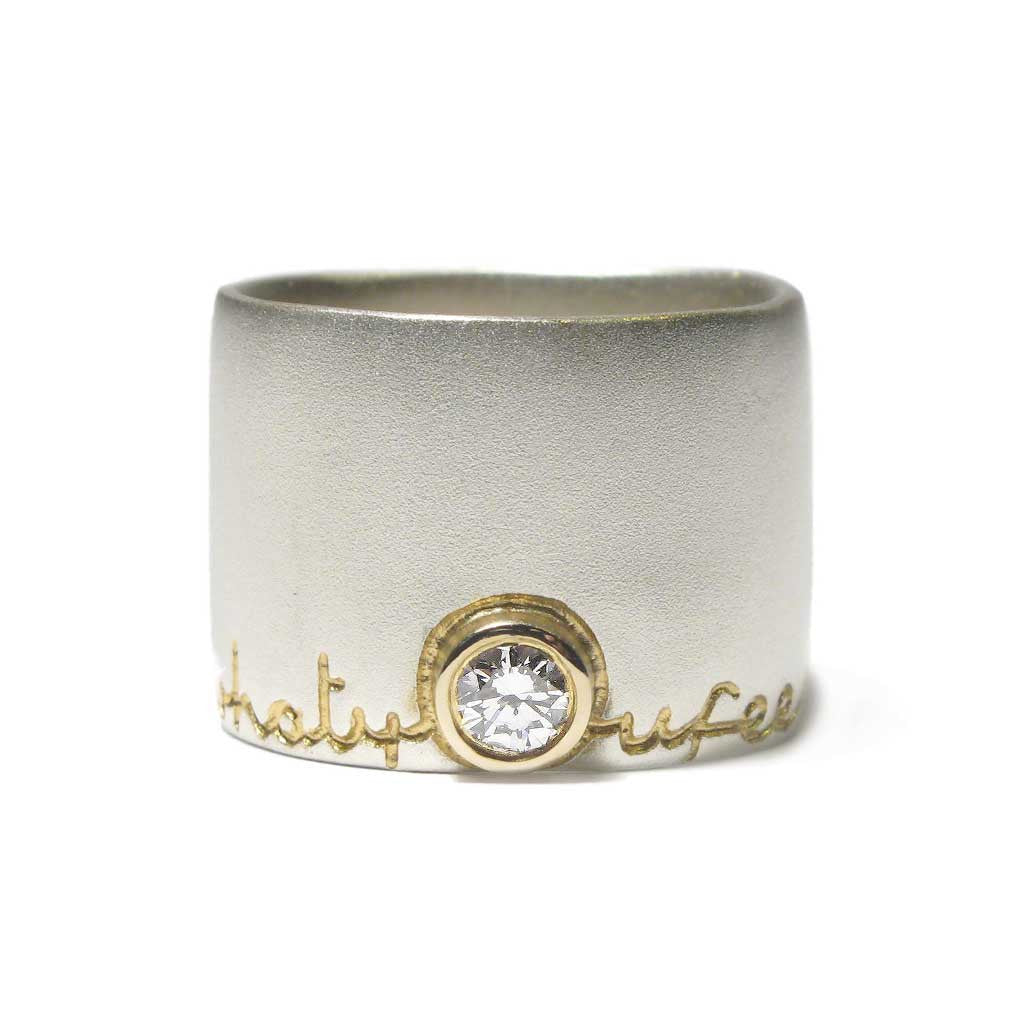 Diana Porter Jewellery bespoke commission etched silver gold diamond ring