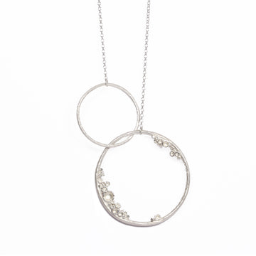 Large etched silver Emerge double hoop pendant from Diana Porter's new collection 2017