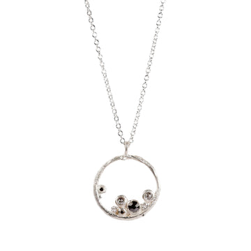 Small Silver 'Emerge' Hoop Necklace With Salt Pepper and Black Diamonds