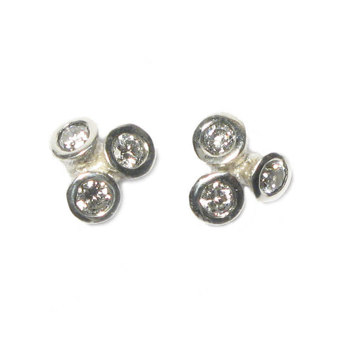 Silver Bud Diamond Ear Studs