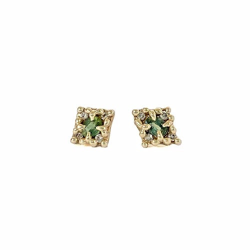 Ciara Bowles Gold Mini Croix Earrings with Green Sapphires