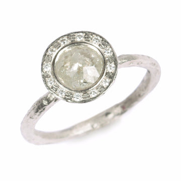 Diana Porter contemporary Jewellery, modern halo engagement ring, milky rose cut diamond surrounded with diamonds
