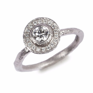 Bristol Jewellers Diana Porter, Contemporary engagement Halo ring, diamond and platinum
