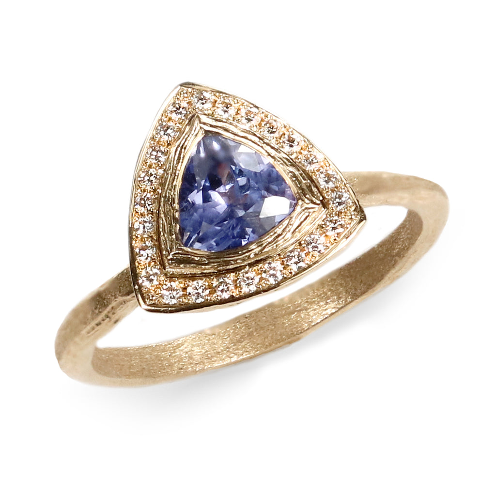 9ct Fairtrade Yellow Gold Ring with a Trillion Cut Blue Sapphire and a Halo of Diamonds