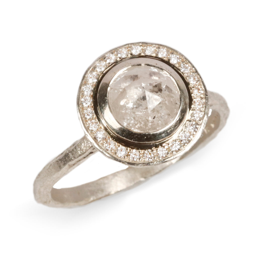 1.20ct Rose cut diamond halo ring in 9ct white gold