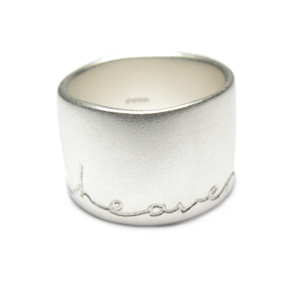 Diana Porter Jewellery contemporary wide etched silver ring