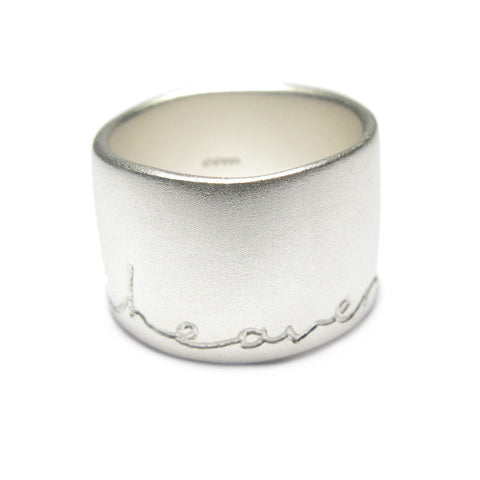 Wide Silver 'In Heaven on Earth' Ring