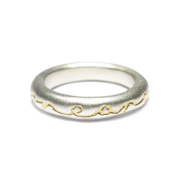 Diana Porter Jewellery contemporary silver gold etched ring