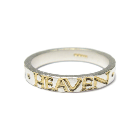 Silver 'IN HEAVEN ON EARTH' Square Ring