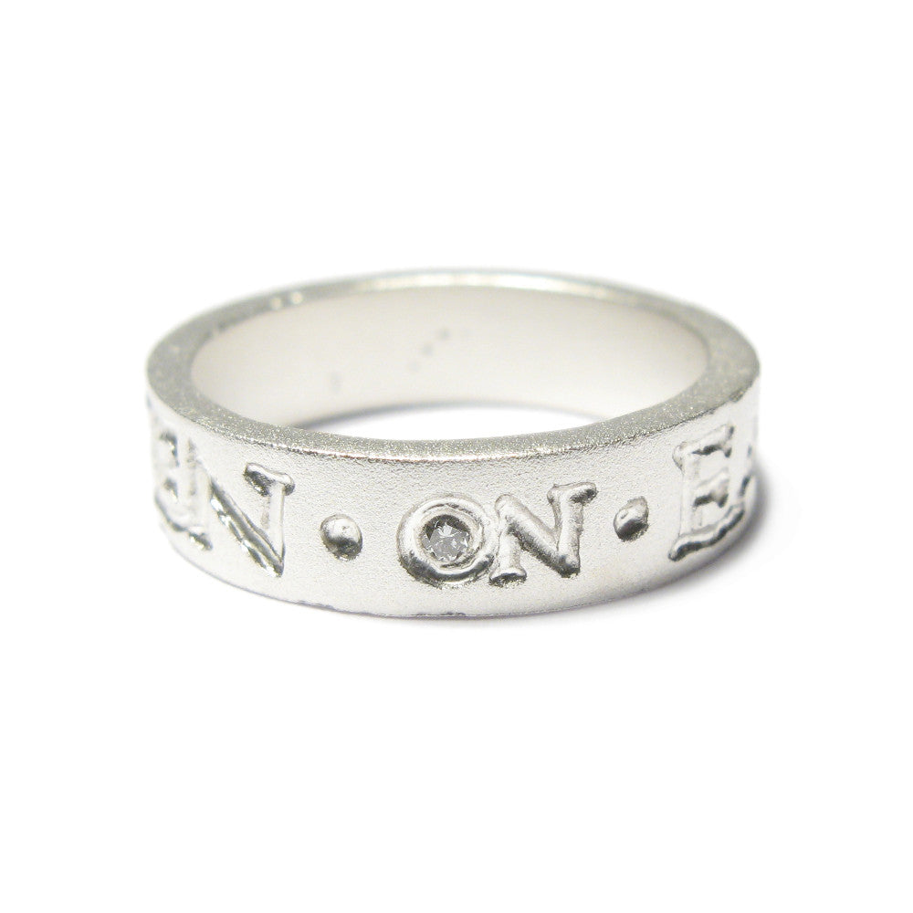 Diana Porter Jewellery contemporary etched silver diamond wedding ring