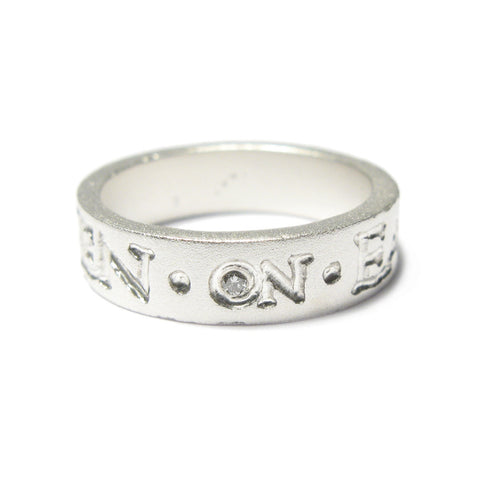 Silver Square 'IN HEAVEN ON EARTH' Ring