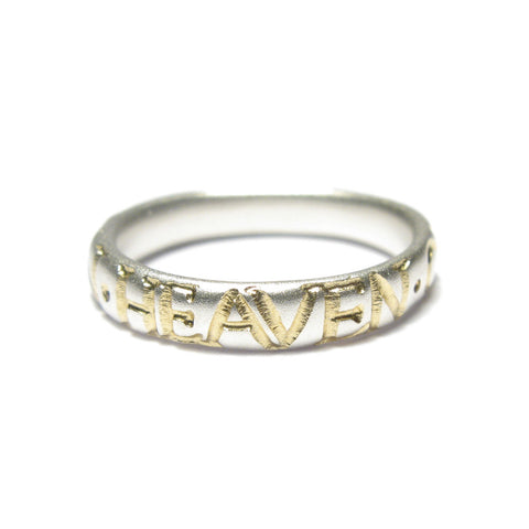 Narrow Silver 'IN HEAVEN ON EARTH' Ring
