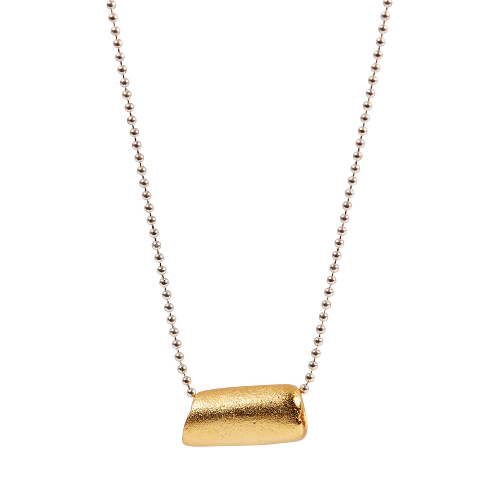 Heeseung Koh gold plated silver fingerprint tube necklace